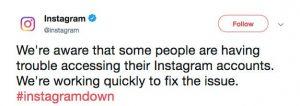 instagram goes down tweet